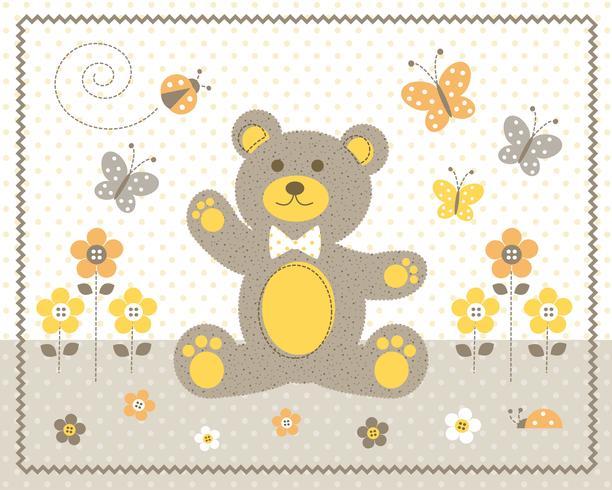 niedlicher Babybär mit gelbem grafischem Platz der Blumen und der Schmetterlinge mit Tupfenhintergrund vektor