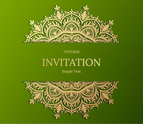 Elegant spara datumkortdesign. Tappning blommig inbjudan kort mall. Lyx virvlar mandala hälsning guld och grönt kort vektor
