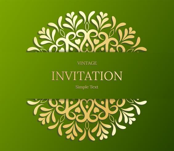 Eleganter Save The Date-Kartenentwurf. Vintage floral Einladungskarte Vorlage. Luxusstrudel-Mandala-Grußgold und Green Card vektor