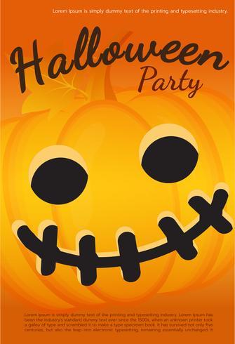 Vektor Halloween Party Poster. Pumpa