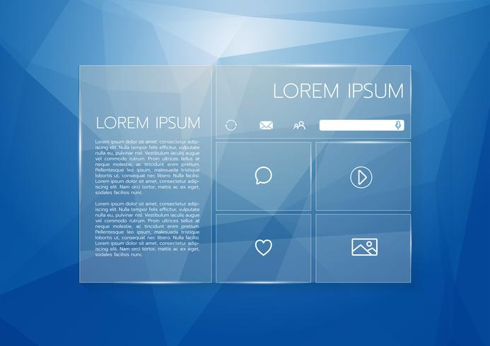 Tropisk Palm Leaf Monstera med ett Gold FrameUser-gränssnitt Genomskinligt grafiskt webbdesign, låg poly bakgrund. Webbplatselement för din webbdesign vektor