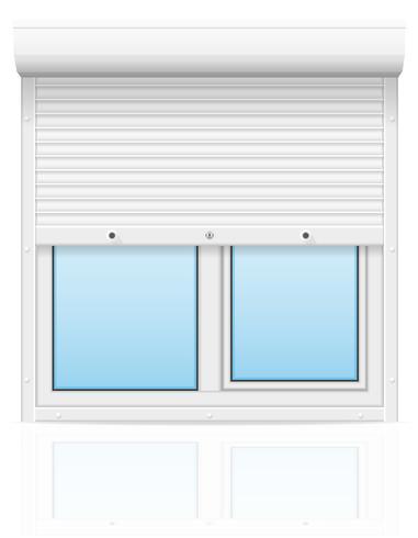 plast fönster med rullande fönsterluckor vektor illustration