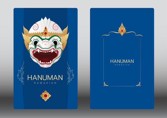 Hanuman, Ramayana, Thailand klassisk Mask Dance, lyxkort vektor