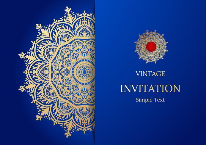 Elegant spara datumkortdesign. Tappning blommig inbjudan kort mall. Lyx virvla runt mandala hälsning guld och blått kort vektor