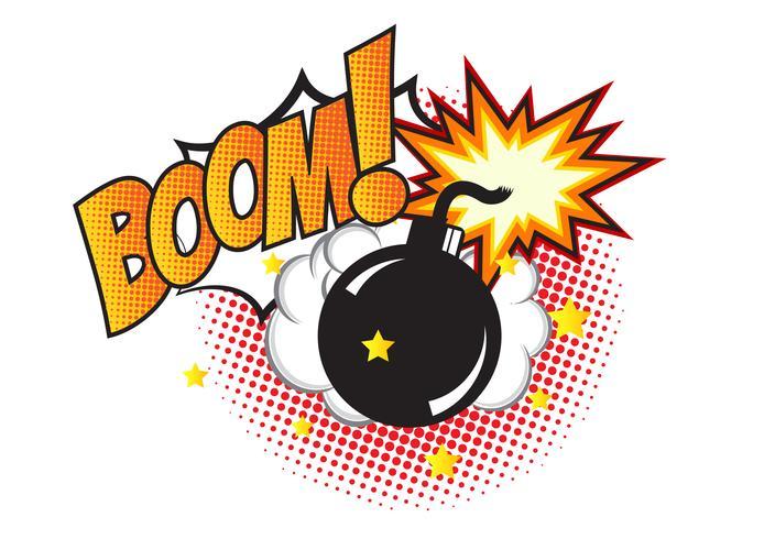 Bomb i popkonst och komisk talbubbla med text - BOOM! Tecknad dynamin i bakgrunden med prickar halvton och sunburst. vektor