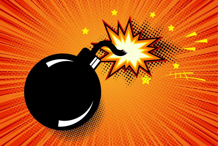 Bombe im Pop-Art-Stil und komische Sprechblase. Karikaturdynamit am Hintergrund mit Punkthalbtonbild und Sonnendurchbruch. vektor