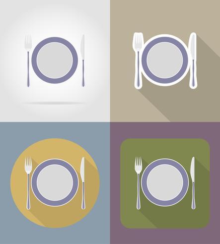 Platte mit Gabel Messer Objekte und Ausrüstung für die Lebensmittel-Vektor-Illustration vektor