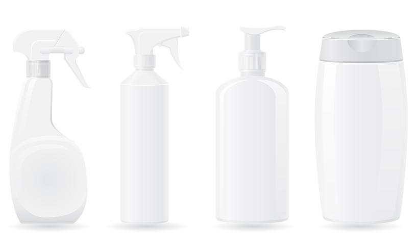 Stellen Sie Ikonen Plastikflaschen-Vektorillustration ein vektor