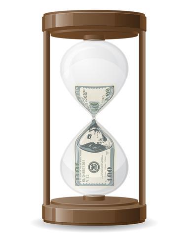 ett hundra dollar läcker i timglas vektorgrafik vektor