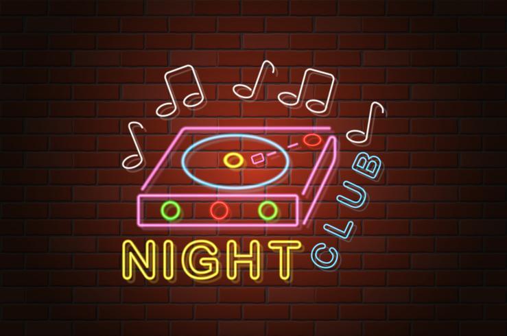 glödande neon skylt nattklubb vektor illustration