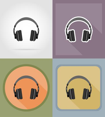 Ikonen-Vektorillustration der akustischen Kopfhörer flache vektor