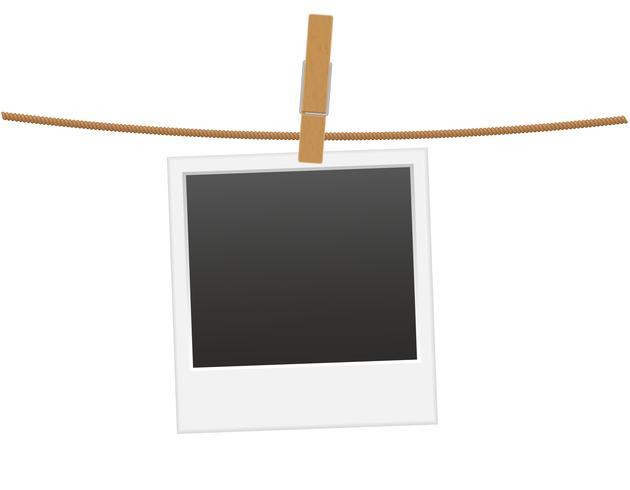 retro fotoram som hänger på ett rep med tygpinne vektor illustration