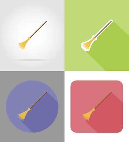 halloween häxor kvast platt ikoner vektor illustration