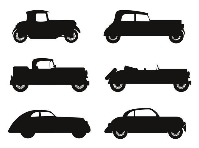 stellen Sie alte Retro- Autoschwarzschattenbild-Vektorillustration der Ikonen ein vektor