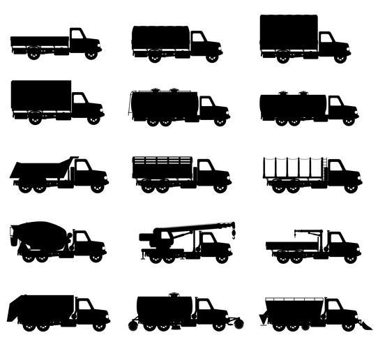 Stellen Sie Ikonen-LKWs halb Anhängerschwarzschattenbild-Vektorillustration ein vektor