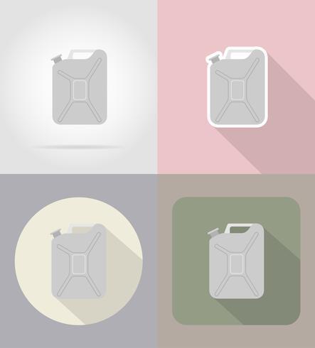 Ikonen-Vektorillustration des metallischen Benzinkanisters flache vektor