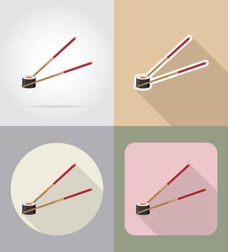 Sushi mit Essstäbchen essen und flache Ikonen der Gegenstände vector Illustration