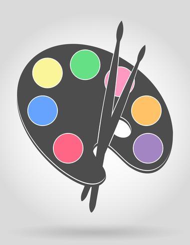 ikon palett för färger och borste vektor illustration