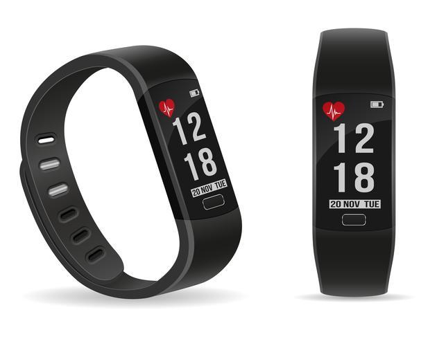 digital smart fitness klocka armband med pekskärm lager vektor illustration