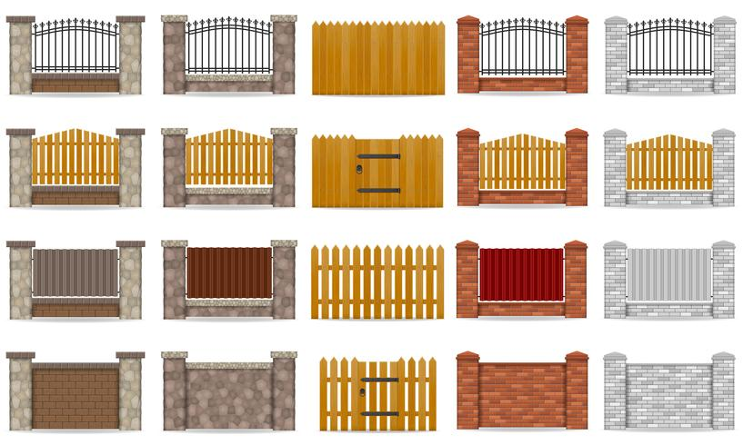 stellen Sie den Zaun der Ikonen ein, der von der hölzernen Steinziegelstein-Vektorillustration gemacht wird vektor