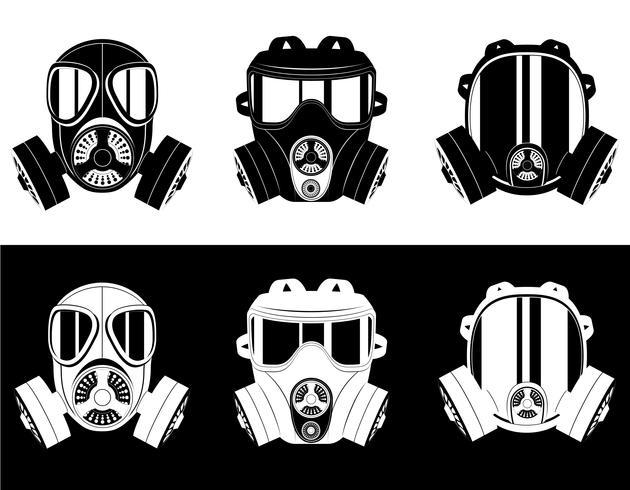 ikoner gasmask svart och vitt vektor illustration
