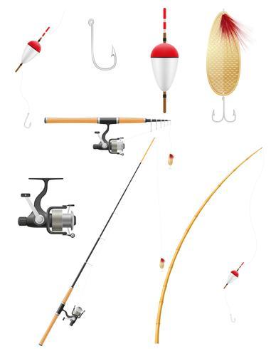 set ikoner fiskeutrustning vektor illustration