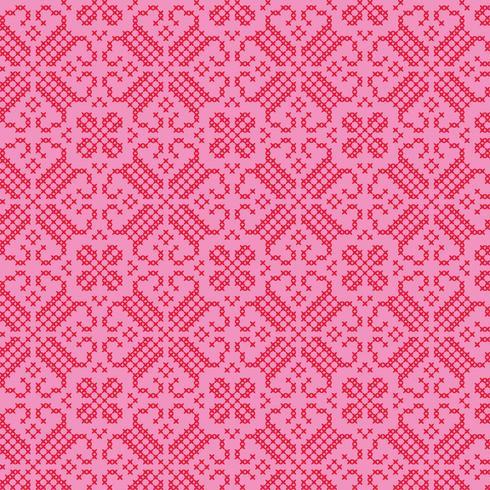 broderat nordiskt rött rosa mönster vektor