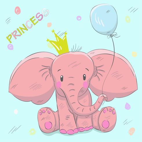 Gullig baby elefant vektor