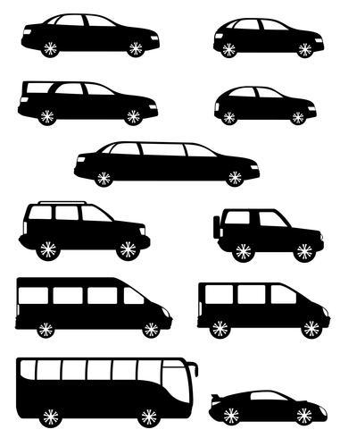 Stellen Sie Ikonen-Personenwagen mit schwarzer Schattenbild-Vektorillustration der verschiedenen Körper ein vektor