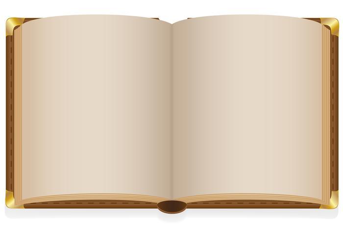 gammal öppen bok med tomma lakan vektor illustration
