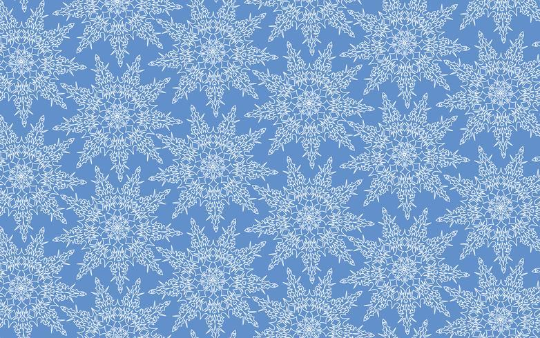 Snöflingor sömlöst mönster, snöbakgrund. vektor