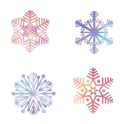 Snowflake set. Snö ikoner. Vinterferie tecken. Julsymboler vektor