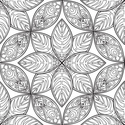 Blommigt sömlöst mönster. Linjär prydnad. Abstrakt bakgrund vektor