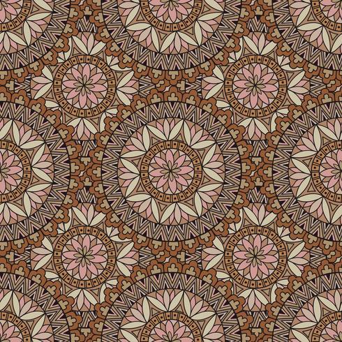 Abstrakt mosaikplattor mönster. Orientalisk geometrisk cirkulär prydnad vektor