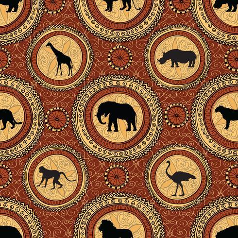 Afrikanisches ethnisches nahtloses Muster. Abstrakter Hintergrund mit Tieren. vektor