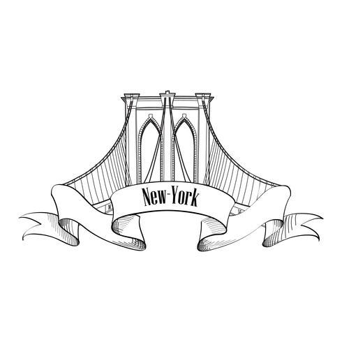 New York City, Brooklyn-Brücke. Reisen USA Wahrzeichen gravierte Zeichen vektor