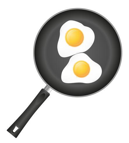 stekt ägg i en stekpanna vektor illustration