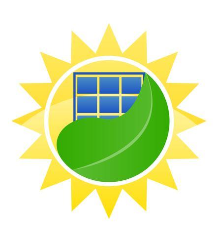 logotyp ekologisk solenergi vektor illustration
