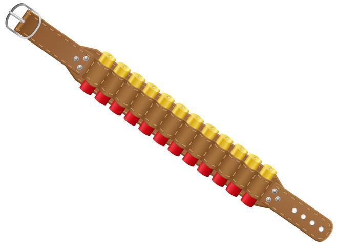 hagelgevär skal i bandolier vektor illustration