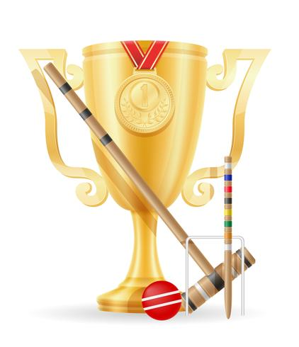 croquet cup vinnare guld lager vektor illustration