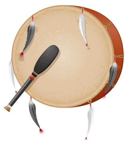 tambourin amerikanska indianer vektor illustration