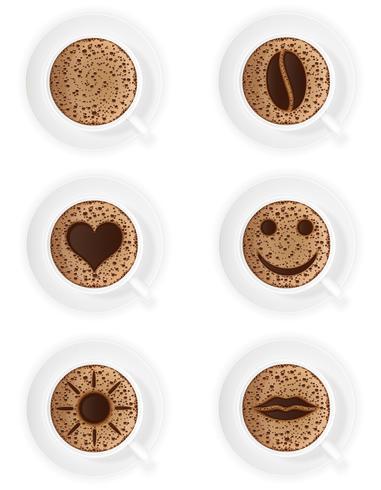 Tasse Kaffee Crema mit verschiedenen Symbolen vector Illustration