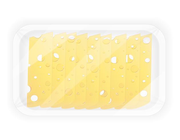 geschnittener Käse in der Paketvektorillustration vektor