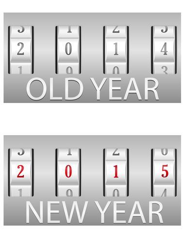 Kombinationsschloss alt und die Vektorillustration des neuen Jahres vektor