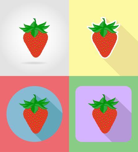Set flache Ikonen der Erdbeerfrüchte mit der Schattenvektorillustration vektor