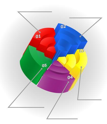 infographics multicolor visuellt surround 3d vektor