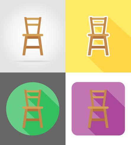 stolen möbler sätta plana ikoner vektor illustration