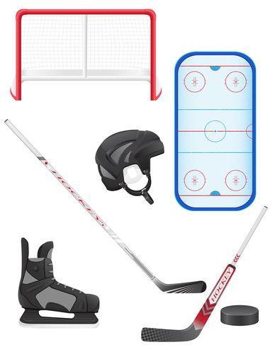 uppsättning hockey utrustning vektor illustration