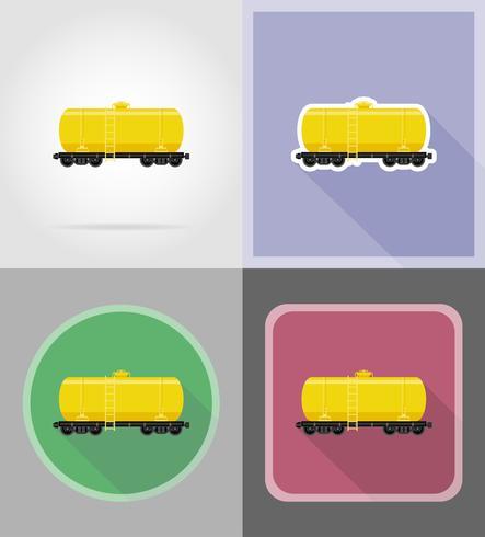 järnvägsvagn för leverans och transport av bränsle platt ikoner vektor illustration