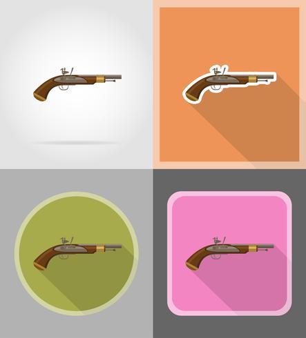 gammal retro flintlock pistol platt ikoner vektor illustration